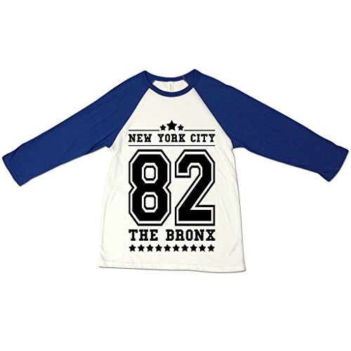 Herren New York City NYC 82 The Bronx American Football Baseball College Tri-Blend Sportliches 3/4 Arm T-Shirt Von Bella+Canvas Weiß & Marineblau