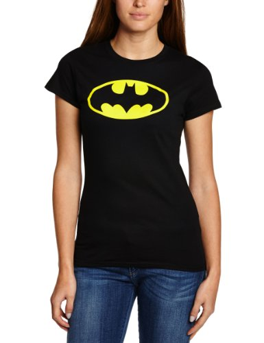 Collectors Mine Batman Logo, T-Shirt da Donna, Colore Nero (Schwarz), Taglia Medium