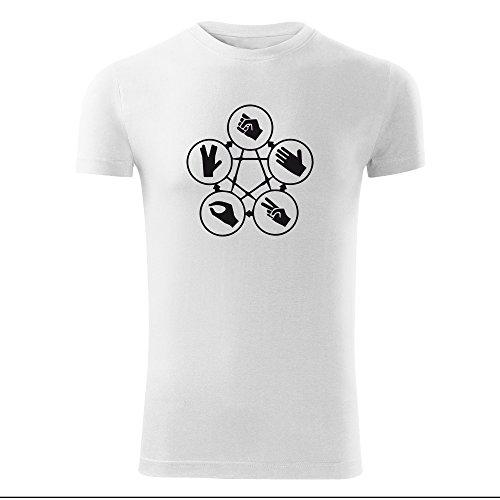 Herren Shirt Schere Stein Papier schwarz & weiß Motiv - T-Shirt Poloshirt mit Motiv - Neu S - XXL Weiß