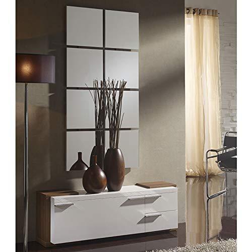 M-020 scarpiera specchio colore noce bianco laguna 2