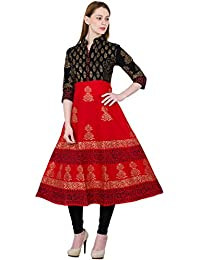Zoeyams Women's Black & Red Cotton Block Prints Long Anarkali Kurti