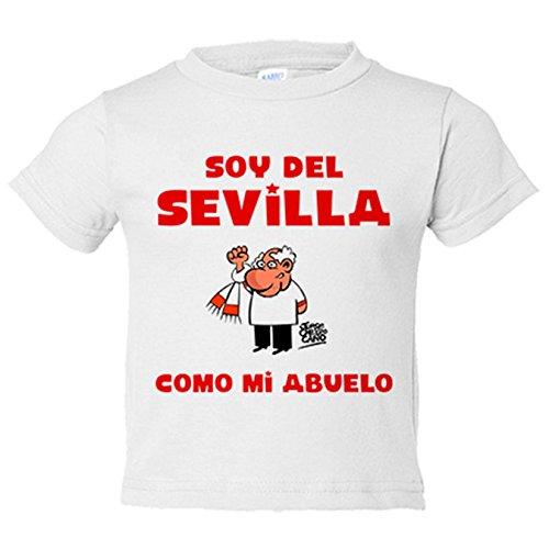 Camiseta niño soy del Sevilla como mi abuelo Jorge Crespo Cano - Blanco, 7-8 años