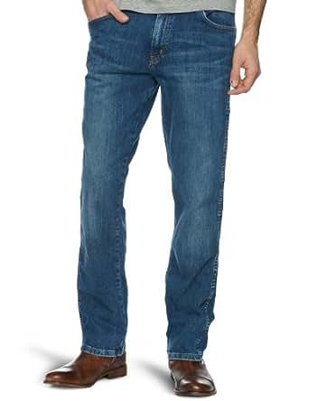 Wrangler - texas stretch - jean - droit - de couleur - homme, Dark Brown, FR : W32/L32 (Taille fabricant : W32/L32)