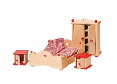 Goki 51954 - Dormitorio, 4-pieza, casa de muñecas muebles por Goki
