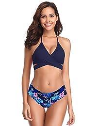 SHEKINI Mujeres Front Cross Bandage Bikini Floral impresión Inferior Traje  de baño Que es el triangulo eba4d858d8fb