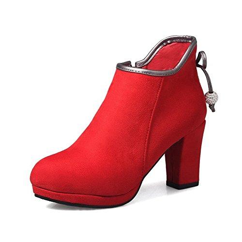 AllhqFashion Damen Mattglasbirne Reißverschluss Hoher Absatz Niedrig Spitze Stiefel Rot