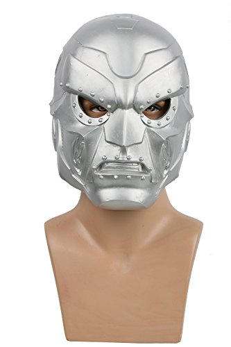 Halloween Helm Cosplay Kostüm Silber Latex Maske Film Kleidung Replik für Erwachsene Verrückte Kleid Zubehör (Kostüm Doctor Doom)
