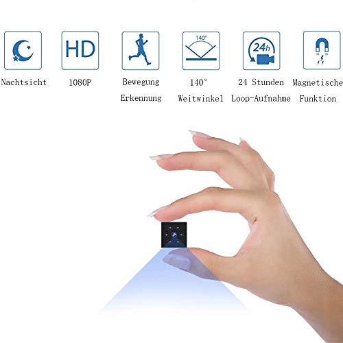 Mini Kamera, Überwachungskamera HD 1080P Innenbereich/Außenbereich Heim kleine Nanny Cam eingebaut magnetische mit Bewegungserkennung Nachtsicht
