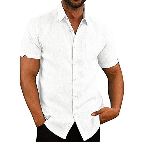 KUKICAT Herren Kurzarm Pocket Revers Baumwollhemd Top, Vintage Leinen Volltonfarbe Kurzarm T-Shirt Top