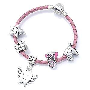 """Armband mit Charms """"Zahnfee"""" aus Leder für Mädchen in hochwertigem Geschenkbeutel"""