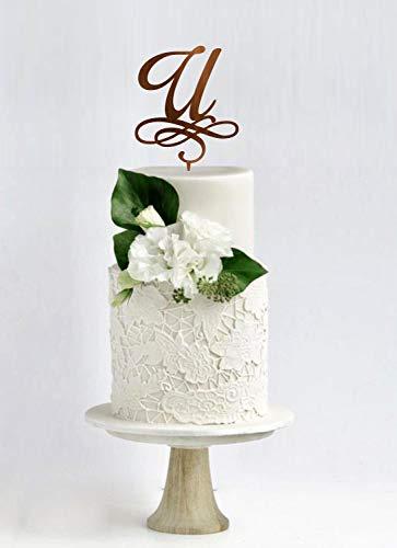U Kuchen Topper Hochzeitstorte Topper Brief U Anfang Cake Topper Einzelbrief Personalisierte Cake Topper Benutzerdefinierte Initial Cake Topper (Brief E-hochzeitstorte Topper)