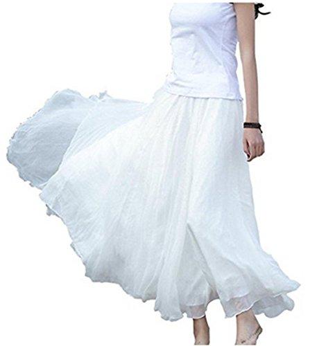 LAEMILIA Damen Lang Chiffon Kleid Rock Retro Vintage Double-Layer Gefaltet Strand (Weiß)