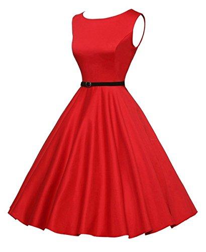 iHAIPI - Damen Vintage Retro Schwarz Weiss Karo Cocktailkleid Party Kleid Festliche Kleider 13. Rote