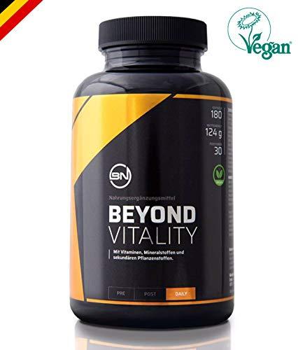 VITALITY BIO MACA Pulver | 21 Vitalstoffe mit Alpha-Liponsäure, OPC, Astaxanthin & Zink | hochdosierter Energie & Zellschutz Komplex aus Antioxidantien, Vitamine & Mineralstoffe | 180 vegane Kapseln