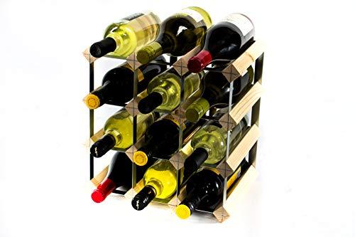 Klassische 12 Flaschen Kiefernholz und verzinktem Metall Weinregal Selbst Assembley Klassisches 12