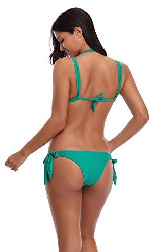 Aidonger Damen Push-up Drucken Bunt Rückwärts Bandeau Badeanzug Shorts Frauen Bikini-Sets mit Stahlstütze Brustpolster Cups Mädchen Bademode Grün Oberteil