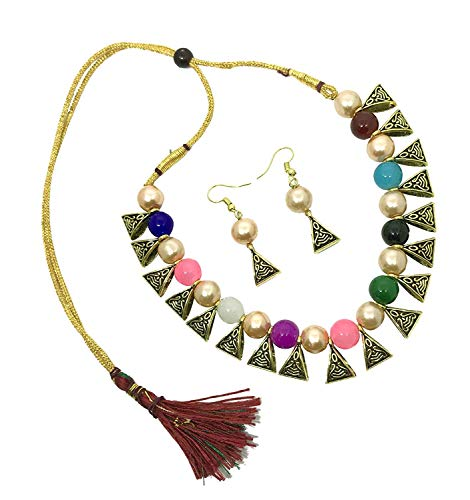 Archi Collection Boho Vintage Oxidized Gold Plated Fashion Multicolour Pearl Choker Necklace Earring Jewellery Set for Women Girls