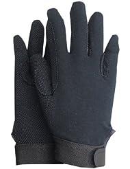 Guantes de equitación de algodón jersey con agarre antideslizante Interior Mano, cierre de velcro y riendas amplificación, transpirable Antirutsch azul