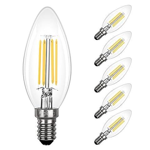 Aglaia E14 Bulb LED 3.5W, 5-Pack SES Candle Light Bulbs, Incandescent Equivalent 40W, 2700K Warm White, 430LM and 360° Beam Angle