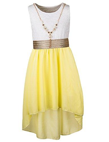 Unbekannt Kinder Sommer Fest Kleid für Mädchen Sommerkleid Festkleid mit Kette in vielen Farben M288wge Weiss Gelb Gr. 10/128 / 134