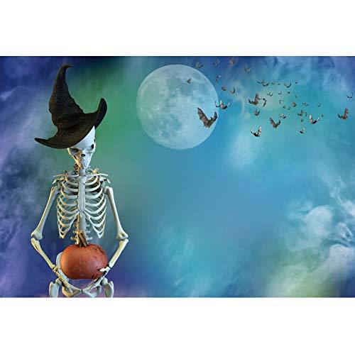 OERJU 1,5x1m Halloween Hintergrund Skelett Hexen Hut Kürbis Fledermäuse Vollmond Hintergrund Halloween Party Fotografie Süßes oder Saures Kinder Party Banner Dekoration Porträt