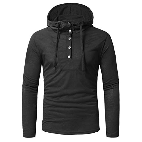 MRULIC Herren Basic Kapuzenpullover Sweatjacke Pullover Hoodie (Schwarz,EU-46/CN-L) (Überprüfen Sie Wolle Seide Schal)