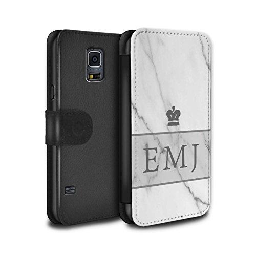 Personalisiert Individuell Marmor PU-Leder Hülle für Samsung Galaxy S5 Mini / Krone/Banner Design / Initiale/Name/Text Schutzhülle/Tasche/Etui (Banner Krone)