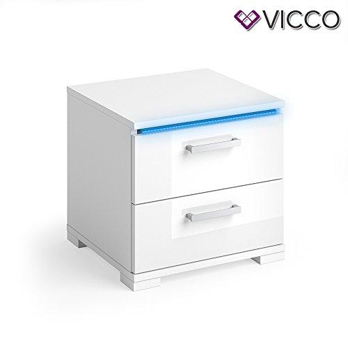 Vicco Nachtschrank Picot weiß Hochglanz 2er Set LED Nachttisch Kommode Schrank Schlafzimmer Schublade