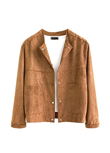 CuteRose Womens Suede Nap Plus Size Long Sleeve Short Overcoat Jackets Brownness 3XL Suede Varsity Jacket
