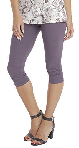 BeLady Damen Leggings 3/4 Capri aus Baumwolle Blickdichte Leggins Viele Farben (Pflaume, M - 38)
