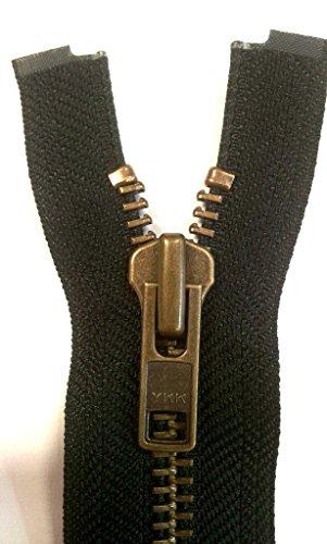 YKK Reißverschluss starker 8 mm 1 Weg teilbar schwarz 85 cm Metall Metallzähne (Reißverschluss-schwarz Länge)