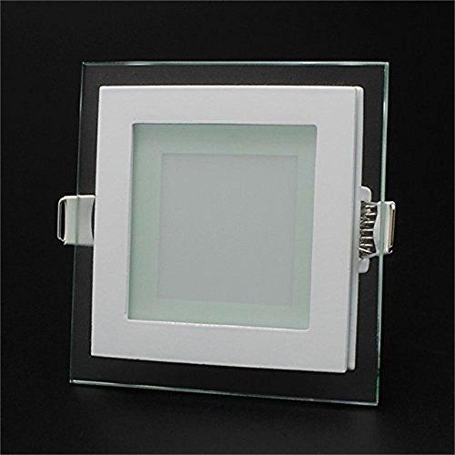 Panel de Luz LED Lámpara de Techo Cuadrada de Vidrio Luz de...