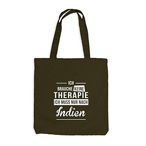 Jutebeutel - Ich Brauche Keine Therapie Indien - Therapy Urlaub India Olive