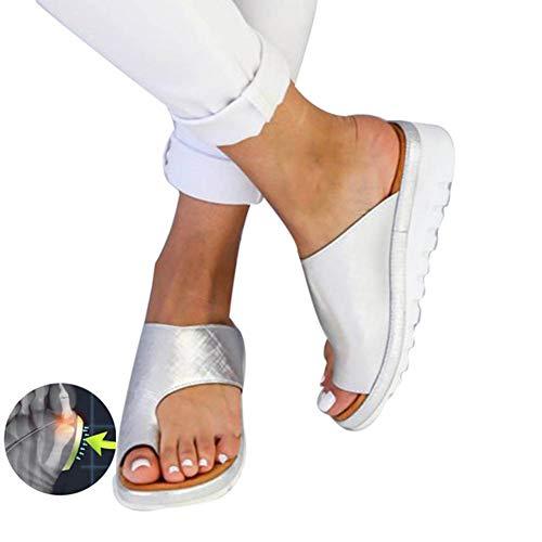 TQMK Frauen Orthopädische Bunion Corrector PU Leder Schuhe Outdoor Comfy Plattform Sohle Casual Weichen Fuß Kappe Richtige Begradigen Sandale,Silver,39 Pu-frauen-schuhe