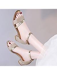 SHOESHAOGE En Ms Word con Sandalias De Estilo Romano, Zapatos para Mujeres Gruesas con High-Heeled,Eu34