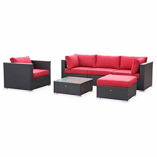Alice's Garden Salon de jardin en résine tressée - Caligari - Noir, Coussins rouge - 5 places - 1 fauteuil, 1 fauteuil sans accoudoir, 1 pouf, 2 fauteuils d'angle, une table basse