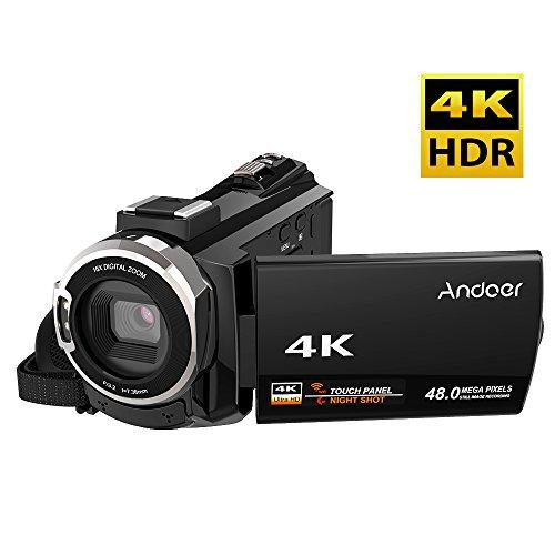 Andoer 4K 1080P 48MP WiFi Digital Videokamera Camcorder Recorder mit Novatek 96660 Chip 3 Zoll kapazitiver Touchscreen IR Infrarot Nachtsicht 16X Zoom Cold Shoe Unterstützung externes Mikrofon