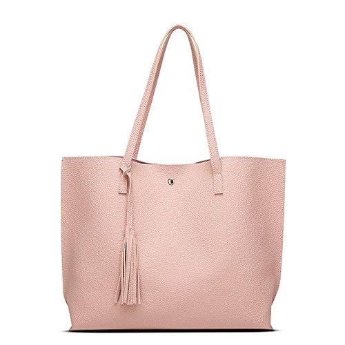 Casual Handtasche Quasten Pink Reisetaschen Frauen Lady Leder Espeedy Volltonfarbe PU Geldbörse Einfache Schultertasche aAq6v