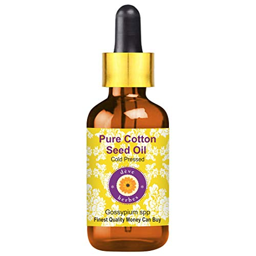 Huile de graines de coton pure Deve Herbes (Gossypium spp) avec compte-gouttes en verre 100% naturelle, qualité thérapeutique, pressée à froid 100ml (3,38 oz)