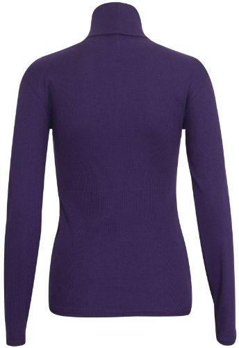 Femmes Polo Tortue Haut Col Roulé Uni côtelé Manches Longues Femme Extensible Haut T-Shirt Mauve