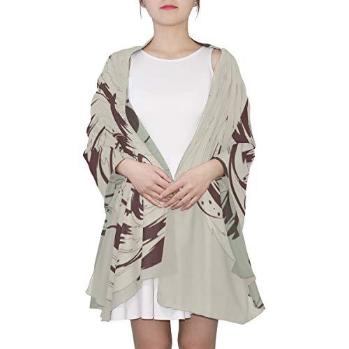SHAOKAO Mädchen mit Kopfschmuck von Federn Einzigartige Mode Schal für Frauen Leichte Mode Herbst Winter Print Schals Schal Wraps Geschenke für den frühen Frühling
