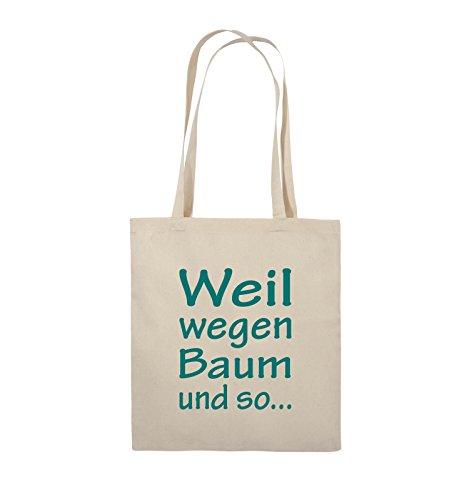 Comedy Bags - Weil wegen Baum und so - Jutebeutel - lange Henkel - 38x42cm - Farbe: Schwarz / Pink Natural / Türkis