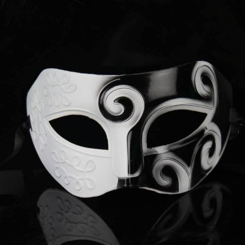 Weiss Roman griechischen Herren venezianische Halloween-Kostuem-Partei-Maskerade-Masken- (Schwarze Und Weiße Venezianische Maske)
