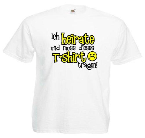 T-Shirt für den Junggesellinnenabschied mit dem Motiv Ich heirate und muss dieses T-Shirt tragen ! Weiß