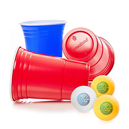 Lumaland Partybecher 100 Stück 16 oz Trinkbecher und 6 Beer Pong Bälle als Set extra Starke Plastikbecher rot und blau