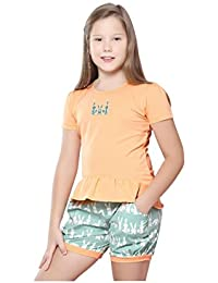 Night Suit for Girls - Orange Color - Cotton Material - Solid Top and Shorts Set - Half Sleeves Top - Available for 8/10/12/14 Year Old Girls - Casual wear for Kids