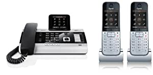 Siemens Gigaset DX800A, SET mit 2x SL78H Mobilteil – ISDN, Anrufbeantworter, Bluetooth® ECO DECT, schwarz