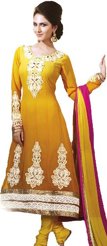 Exotic India Anarkali Kameez Suit with Giant Embroidered Paisleys and Crochet Bo...