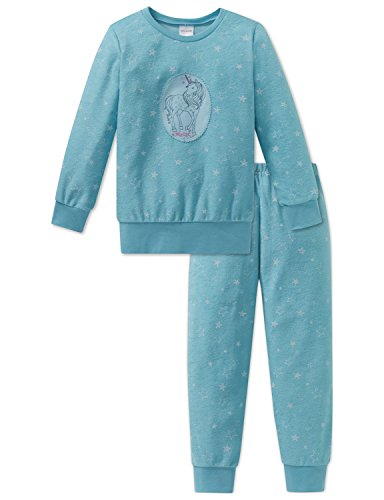 Schiesser Mädchen Zweiteiliger Schlafanzug Einhorn Md Anzug Lang, Blau (Türkis 807), 140