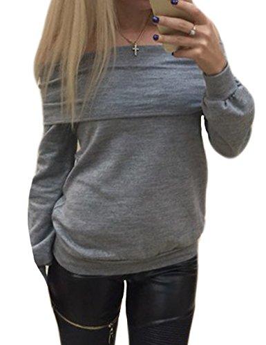 Tkria Camicia Donna Manica Lunga Scollo a Barca Cotton Risvolto Tinta Slim Fit Top Bluse Nero